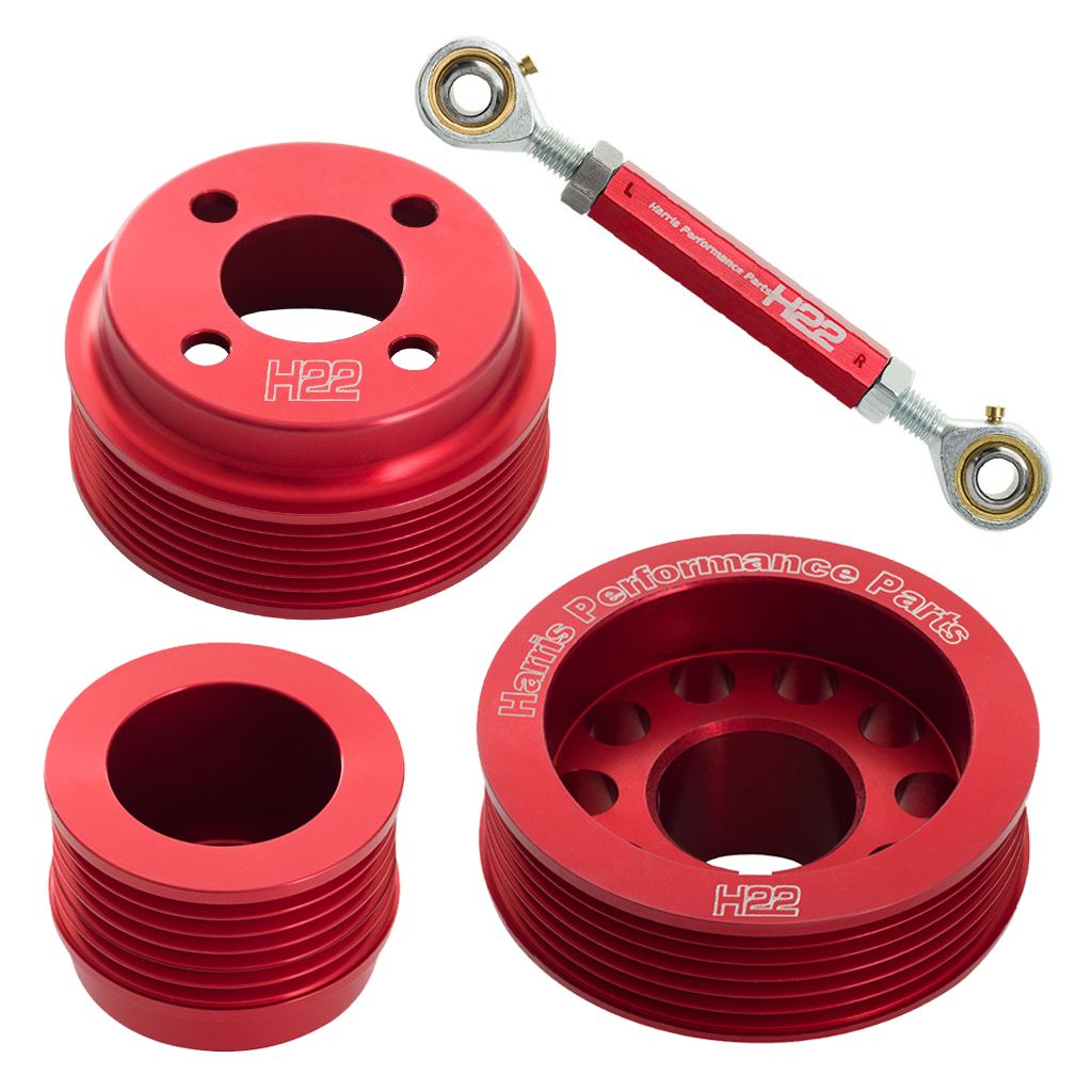 H22 Pinto Aluminium Pulley Set Red With Tensioner