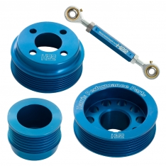 H22 Pinto Aluminium Pulley Set Blue With Tensioner