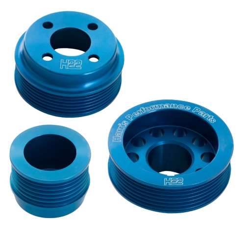 H22 Pinto Aluminium Pulley Set Blue Without Tensioner