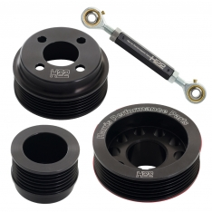 H22 Pinto Aluminium Pulley Set Black With Tensioner