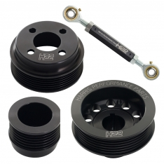 H22 Xflow Aluminium Pulley Set Black with Tensioner