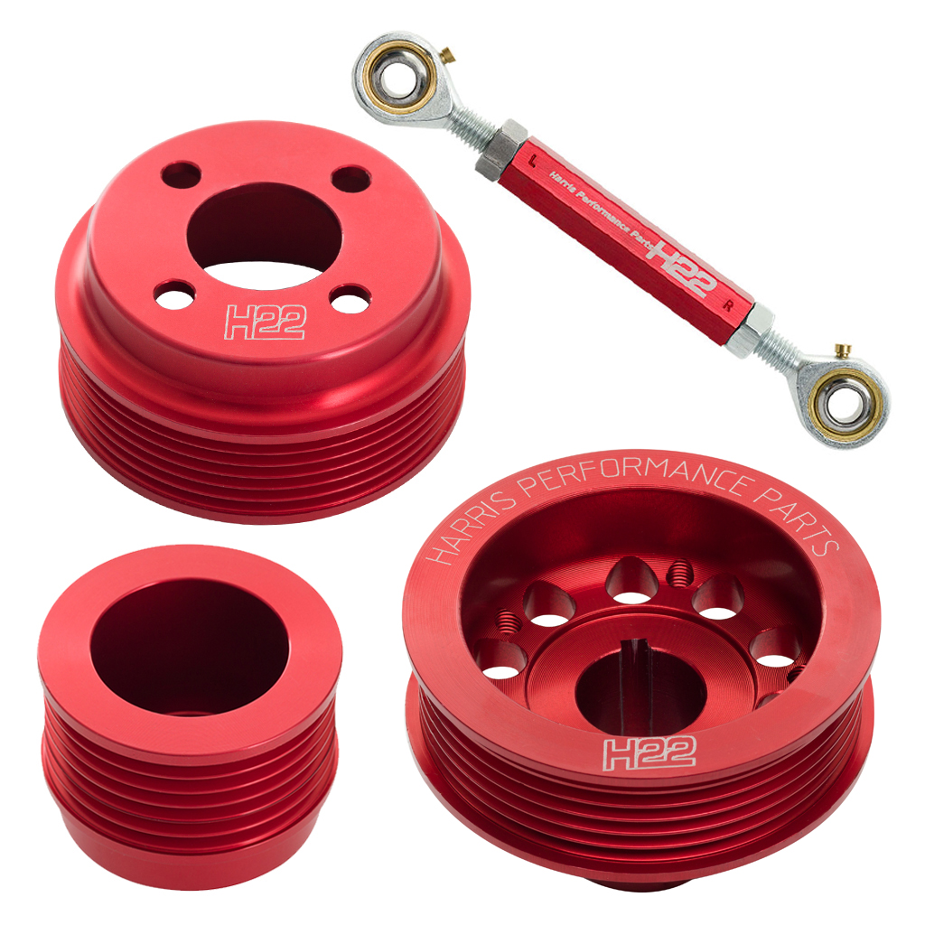 H22 Xflow Aluminium Pulley Set Red with Tensioner