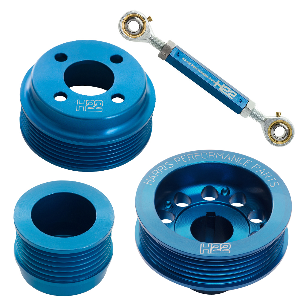 H22 Xflow Aluminium Pulley Set Blue With Tensioner